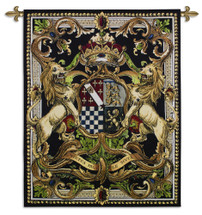 Crest On Black Ii By - Woven Tapestry Wall Art Hanging For Home Living Room & Office Decor - Medieval Royal Castle Heraldic Crest Tapestry - Lion Crown Classical Design - 100% Cotton - USA Wall Tapestry