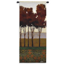 Dreamers Grove Ii - Woven Tapestry Wall Art Hanging For Home Living Room & Office Decor - Contemporary Vertical Landscape With Warm Middle Eastern Pattern - 100% Cotton - USA 62X26 Wall Tapestry