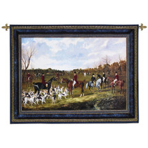 The Meet of the East Suffolk Hounds at Chippenham Park by John Frederick Herring | Woven Tapestry Wall Art Hanging | Victorian Dog Scene on Field | 100% Cotton USA Size 62x45 Wall Tapestry