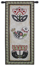 Folk Song By Chariklia Zarris - Woven Tapestry Wall Art Hanging For Home Living Room & Office Decor - Vertical Folk Art Patterns Of Birds And Flowers - 100% Cotton - USA 69X31 Wall Tapestry