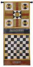 Game On I | Woven Tapestry Wall Art Hanging | Parcheesi and Chess Game Room Decor with Boards to Scale | 100% Cotton USA Size 65x26 Wall Tapestry