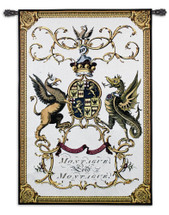 Lord Montague By Jacobs Peerage - Woven Tapestry Wall Art Hanging For Home Living Room & Office Decor - Lord Montague Family Crest Coat-Of-Arms With Regal Gold Border  - 100% Cotton - USA 53X35 Wall Tapestry