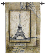 Fine Art Tapestries Passport To Eiffel Hand Finished European Style Jacquard Woven Wall Tapestry  USA Size 53x36 Wall Tapestry