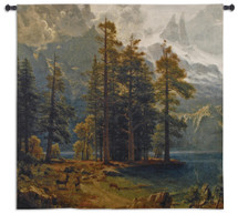 Sierra Nevada By Albert Bierstadt - Woven Tapestry Wall Art Hanging For Home Living Room & Office Decor - Woods Landscape Snow Capped Mountains Lakeside Forest Nature - 100% Cotton - USA 52X53 Wall Tapestry