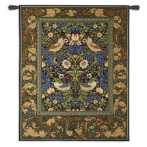 Strawberry Thief Blue by William Morris | Arts and Crafts Style Woven Tapestry Wall Art Hanging  Strawberry and Thrush Pattern  100% Cotton USA Size 65x53 Wall Tapestry