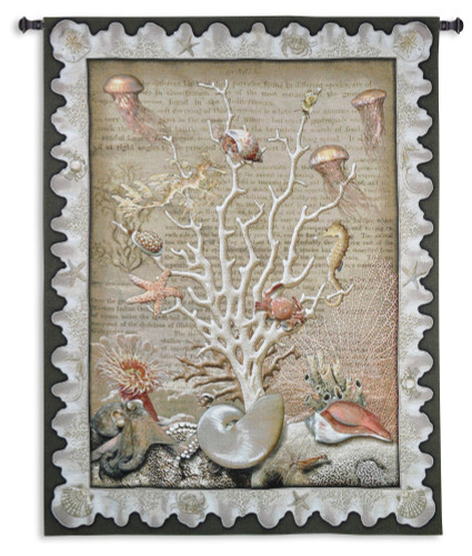 Sea of Life by Julianna Jame - Woven Tapestry Wall Art Hanging for Home & Office Decor - Shells Sea Urchins Jellyfish Octopus Coral Sea Peach Sandwall Wildlife Themed - 100% Cotton - USA 67X52 Wall Tapestry