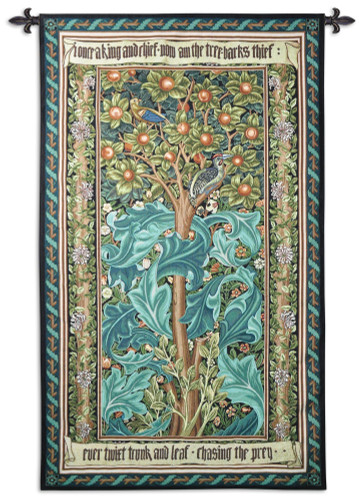 Woodpecker Green by William Morris | Arts and Crafts Style Woven Tapestry Wall Art Hanging | Woodpecker Bird Tree Decor | 100% Cotton USA Size 68x41 Wall Tapestry