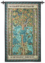 Woodpecker Green By William Morris - Woven Tapestry Wall Art Hanging For Home Living Room & Office Decor - Woodpecker Bird Tree Animal Nature Art Decor - 100% Cotton - USA 68X41 Wall Tapestry