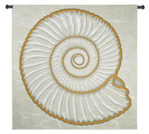 Ammonite | Woven Tapestry Wall Art Hanging | Spiraling Coastal Decor Nautical Shell with Gold Border | 100% Cotton USA Size 52x51 Wall Tapestry