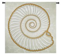 Ammonite - Woven Tapestry Wall Art Hanging - Nautical Swirls Ammonite Shell Motif Nature Fibonacci Sequence - 100% Cotton - USA Wall Tapestry