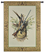 Hunting Gear | Woven Tapestry Wall Art Hanging | Hunter's Shotgun with Bagged Pheasant Cabin Lodge Decor | 100% Cotton USA Size 59x44 Wall Tapestry