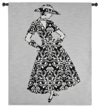 Femme Fatale | Woven Tapestry Wall Art Hanging | Stylish Woman in Stark Floral Black and White Dress | 100% Cotton USA Size 52x42 Wall Tapestry