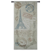 Paris Metro | Woven Tapestry Wall Art Hanging | Vintage French Travel Artwork with Eiffel Tower and Luggage Labels | 100% Cotton USA Size 64x31 Wall Tapestry