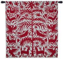 Otomi Poppy Woven Tapestry Wall Art Hanging For Home Living Room & Office Decor - Traditional Native Otomo Indians Central Mexico Primitive Patterns Plant Animal Artwork - 100% Cotton - USA 58X53 Wall Tapestry