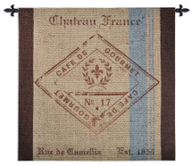 French Roast | Woven Tapestry Wall Art Hanging | Vintage French Coffee Sack Reproduction | 100% Cotton USA Size 53x52 Wall Tapestry