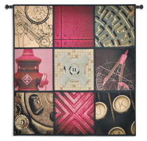 Applied Art by Bob Bergin | Woven Tapestry Wall Art Hanging | Diverse Industrial Design Panels with Deep Reds | 100% Cotton USA Size 53x53 Wall Tapestry