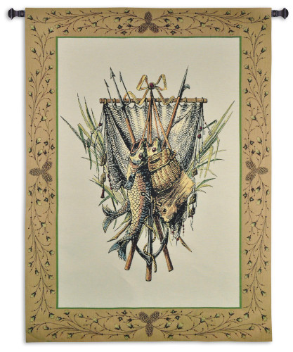Fishing Gear - Woven Tapestry Wall Art Hanging for Home & Office Decor - Fish Tackle Freshwater Fisherman'S Catch of The Day Nature Lodge Cabin Colors Lake Fishing - 100% Cotton - USA 59X44 Wall Tapestry