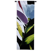 Blue Mystery I by Lola Abellan | Woven Tapestry Wall Art Hanging | Contemporary Blooming Floral Close Up | 100% Cotton USA Size 60x21 Wall Tapestry