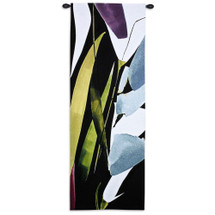 Blue Mystery Ii By Lola Abellan - Woven Tapestry Wall Art Hanging For Home Living Room & Office Decor - Colorfully Improve Your Space Today With Flowing Vertical Florals  - 100% Cotton - USA 60X21 Wall Tapestry