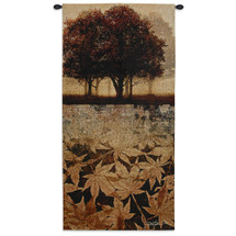 Autumn Minuet I by Keith Mallett | Woven Tapestry Wall Art Hanging | Scattered Crisp Fall Leaves Landscape Silhouette | 100% Cotton USA Size 52x26 Wall Tapestry