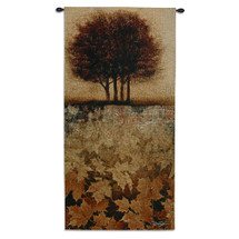 Autumn Minuet II by Keith Mallett | Woven Tapestry Wall Art Hanging | Scattered Crisp Fall Leaves Landscape Silhouette | 100% Cotton USA Size 52x26 Wall Tapestry