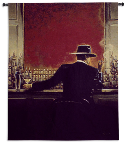 Cigar Bar by Brent Lynch | Woven Tapestry Wall Art Hanging | Mystery Man in Fedora Hat Evening Lounge Scene | 100% Cotton USA Size 67x53 Wall Tapestry