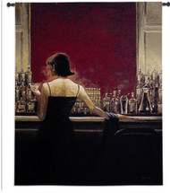 Evening Lounge by Brent Lynch | Woven Tapestry Wall Art Hanging | Woman in Stylish Dress Speakeasy Bar Scene | 100% Cotton USA Size 67x53 Wall Tapestry