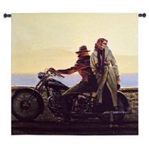Coastal Ride by Brent Lynch | Woven Tapestry Wall Art Hanging | Classic Motorcycle Beach Trip | 100% Cotton USA Size 52x51 Wall Tapestry