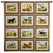 Fine Art Tapestries Sporting Dogs Hand Finished European Style Jacquard Woven Wall Tapestry  USA Size 71x64 Wall Tapestry