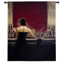 Evening Lounge By Brent Lynch | Woven Tapestry Wall Art Hanging | Cocktail Woman Cigar Bar Evening Lounge | 100% Cotton USA Wall Tapestry