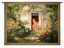 Grandma's Doorway by Graves | Woven Tapestry Wall Art Hanging | Lush Blooming Floral Springtime Villa | 100% Cotton USA Size 52x40 Wall Tapestry