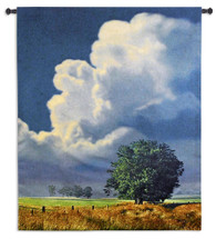 Before the Storm | Woven Tapestry Wall Art Hanging | Forboding Gray Blue Sky over Peaceful Meadow | 100% Cotton USA Size 64x53 Wall Tapestry
