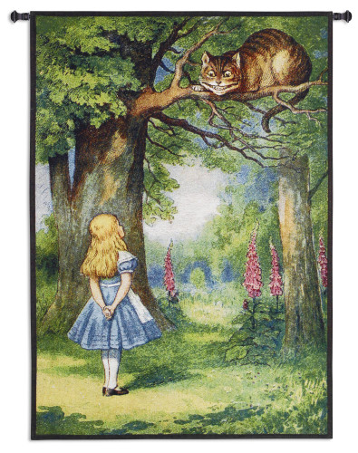 Alice and the Cheshire Cat by Lewis Carroll | Woven Tapestry Wall Art Hanging | Classic Alice In Wonderland Lush Fable Scene | 100% Cotton USA Size 44x31 Wall Tapestry