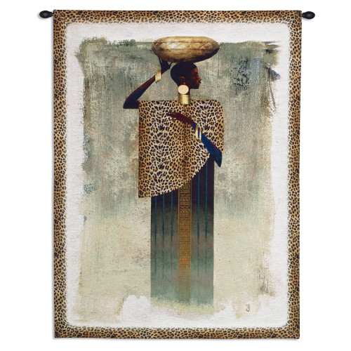 Worldly Woman by Teresa Joseph - Woven Tapestry Wall Art Hanging for Home & Office Decor - African Cultural Art of Woman with Bowl on Her Head Leopard Print Border - 100% Cotton - USA 41X31 Wall Tapestry