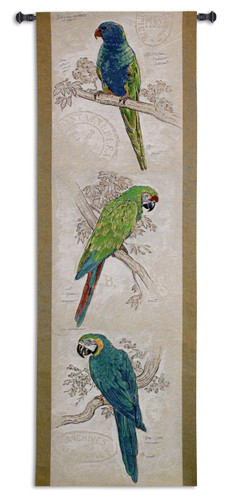 Fine Art Tapestries Tropical Birds Hand Finished European Style Jacquard Woven Wall Tapestry  USA Size 68x22 Wall Tapestry