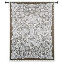 Venetian Lace By Julianna James - Woven Tapestry Wall Art Hanging - Symmetrical Lace Pattern Venetian Filigree Designed Artwork - 100% Cotton - USA 69X51 Wall Tapestry