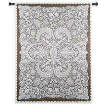 Venetian Lace by Julianna James | Woven Tapestry Wall Art Hanging | Symmetrical Lace Pattern Venetian Filigree Artwork | 100% Cotton USA Size 69x51 Wall Tapestry
