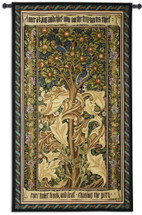 Woodpecker Gold by William Morris | Arts and Crafts Style Woven Tapestry Wall Art Hanging | Woodpeckers Stealing Fruit among Acanthus Leaves | 100% Cotton USA Size 72x41 Wall Tapestry