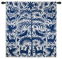 Otomi Royal | Woven Tapestry Wall Art Hanging | Traditional Mexican Silhouette Nature Artwork | 100% Cotton USA Size 58x53 Wall Tapestry