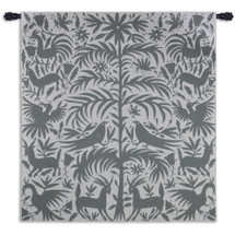Otomi Platinum | Woven Tapestry Wall Art Hanging | Traditional Mexican Silhouette Nature Artwork | 100% Cotton USA Size 58x53 Wall Tapestry