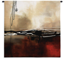 Fine Art Tapestries Symphony In Red And Khaki I Hand Finished European Style Jacquard Woven Wall Tapestry USA 35X35 Wall Tapestry