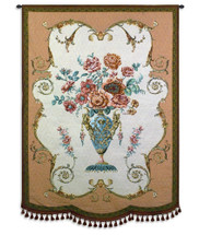 Aubusson | Woven Tapestry Wall Art Hanging | Elegant Pink Rose Bouquet in Regal Vase Still Life | 100% Cotton USA Size 49x36 Wall Tapestry
