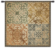 Wrought Iron Elegance - A Beautiful Geometric Wall Tapestry Depicts Four Delicate Ironwork Motifs - Woven Tapestry Wall Art Hanging - 100% Cotton - USA 44X44 Wall Tapestry