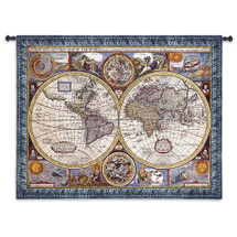 New and Accurate World Map | Woven Tapestry Wall Art Hanging | Vintage Antique Map Cartography | 100% Cotton USA Size 67x53 Wall Tapestry
