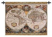 Antique Map Geographica by Jan Janssonius | Woven Tapestry Wall Art Hanging | Old World Cartography | 100% Cotton USA Size 45x35 Wall Tapestry