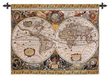 Antique Map Geographica By Jan Janssonius - Woven Tapestry Wall Art Hanging For Home Living Room & Office Decor - Old World Cartography Henricus Hondius Americas Europe - 100% Cotton - USA 35X45 Wall Tapestry