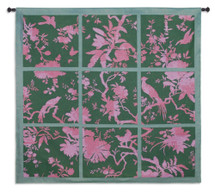 Floral Division Sage and Pink | Woven Tapestry Wall Art Hanging | Silhouetted Tropical Birds and Plants Panel Artwork | 100% Cotton USA Size 53x52 Wall Tapestry