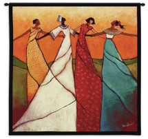 Unity By Monica Stewart - Woven Tapestry Wall Art Hanging - Colorful African Women In Heritage Celebration Dance - 100% Cotton - USA 31X31 Wall Tapestry