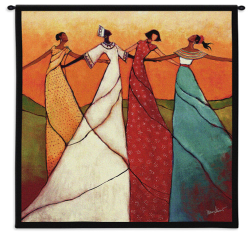 Unity by Monica Stewart | Woven Tapestry Wall Art Hanging | African Women Dancing | 100% Cotton USA Size 31x31 Wall Tapestry
