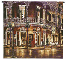 Jazz du Jour by Betsy Brown | Woven Tapestry Wall Art Hanging | New Orleans French Quarter Architecture Evening Street Music | 100% Cotton USA Size 31x31 Wall Tapestry